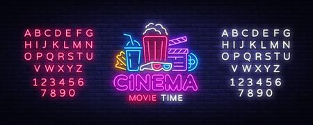 Movie Time Neon Logo Vector. Cinema Night neon sign, design template, modern trend design, night neon signboard, night light advertising, light banner, light art. Vector. Editing text neon sign