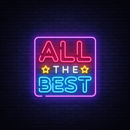 All the best Neon Text Vector. All the best neon sign, design template, modern trend design, night neon signboard, night bright advertising, light banner, light art. Vector illustration.