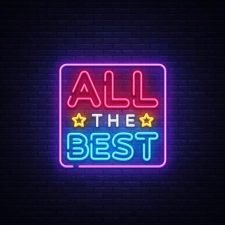 Tutto il miglior vettore di testo al neon. Tutte le migliori insegne al neon, modello di design, design di tendenza moderno, insegna al neon notturna, pubblicità luminosa notturna, banner luminoso, arte luminosa. Illustrazione vettoriale.