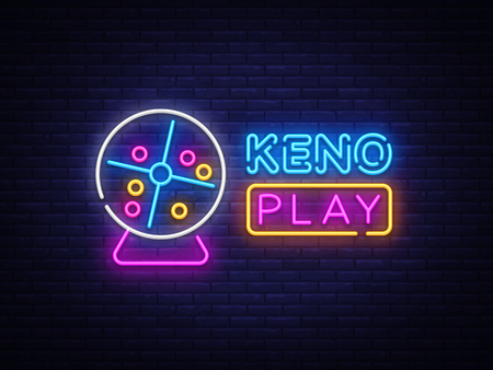 Keno Lottery neon sign vector design template. Lotto symbols neon logo, light banner design element colorful modern design trend, night bright advertising, bright sign. Vector illustration