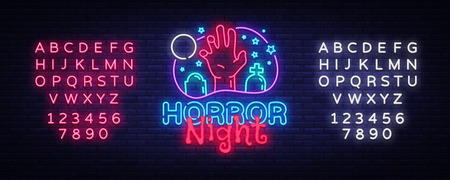 Horror Night neon sign vector. Halloween Poster Design template neon sign, Horror light banner, neon signboard, nightly bright advertising, light inscription. Vector. Editing text neon sign.