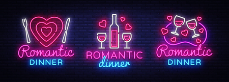Romantic Dinner Neon Logo collection Vector. Wine neon sign, design template, modern trend design, night neon signboard, night light advertising, light banner, light art. Vector illustration. Illustration