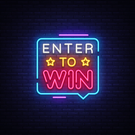 Enter to Win Neon Text Vector. Enter to Win neon sign, design template, modern trend design, night neon signboard, night bright advertising, light banner, light art. Vector illustration.