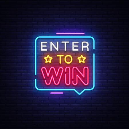 Inserisci per vincere il vettore di testo al neon. Insegna al neon Enter to Win, modello di design, design di tendenza moderno, insegna al neon notturna, pubblicità luminosa notturna, banner luminoso, arte luminosa. Illustrazione vettoriale. Vettoriali