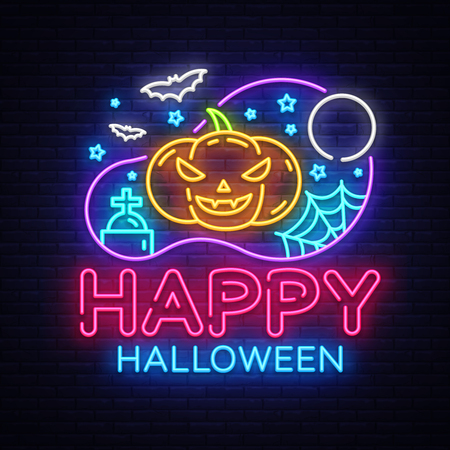 Happy Halloween Party design template vector. Halloween greeting card, Light banner, neon style, night bright advertising. Scary Pumpkin. Vector illustration.