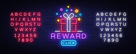 Reward Neon Sign Vector. Gift neon sign, Win super prize design template, modern trend design, night neon signboard, night bright advertising, light banner, light art. Vector. Editing text neon sign.