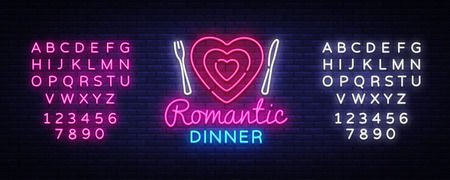 Romantic Dinner Neon Logo Vector. Romantic Dinner neon sign, design template, modern trend design, night neon signboard, night light advertising, light banner. Vector. Editing text neon sign Stockfoto - 108046082