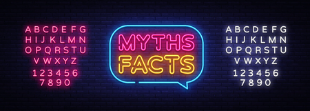 Myths Facts Neon Text Vector. Myths Facts neon sign, design template, modern trend design, night neon signboard, night bright advertising, light banner, light art. Vector. Editing text neon sign.