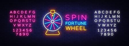 Fortune Wheel Neon Logo vettoriale. Insegna al neon della ruota della fortuna, modello di design, design di tendenza moderna, insegna al neon notturna, pubblicità luminosa notturna, banner luminoso, arte leggera. Vettore. Modifica del testo al neon