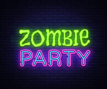 Zombie Party Text Vector. Halloween neon sign, design template, modern trend design, night neon signboard, night bright advertising, light banner, light art. Vector illustration
