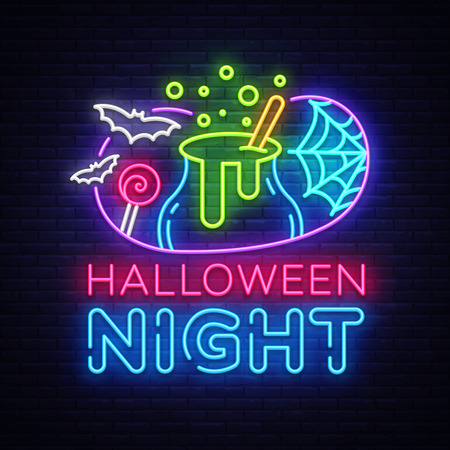 Halloween neon sign vector. Halloween Night Design template and web for banner, poster, greeting card, party invitation, light banner. Isolated illustration Stock Vector - 108046087
