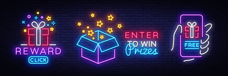 Prizes collection Neon Sign Vector. Gift neon sign, Win super prize design template, modern trend design, night neon signboard, night bright advertising, light banner, light art. Vector illustration.