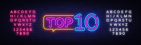Top 10 Neon Text Vector. Top Ten neon sign, design template, modern trend design, night neon signboard, night bright advertising, light banner, light art. Vector. Editing text neon sign. Illustration