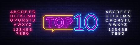 Top 10 Neon-Text-Vektor. Top Ten Neonschild, Designvorlage, modernes Trenddesign, Nachtneonschild, nachthelle Werbung, Lichtbanner, Lichtkunst. Vektor. Bearbeiten von Textleuchtreklamen.