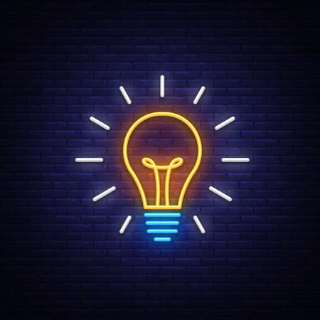 Glühbirne Leuchtreklame Vektor. Glühbirne Design Vorlage Neonsymbol, Lichtbanner, Neonschild, Lichtsymbol. Vektor-Illustration.
