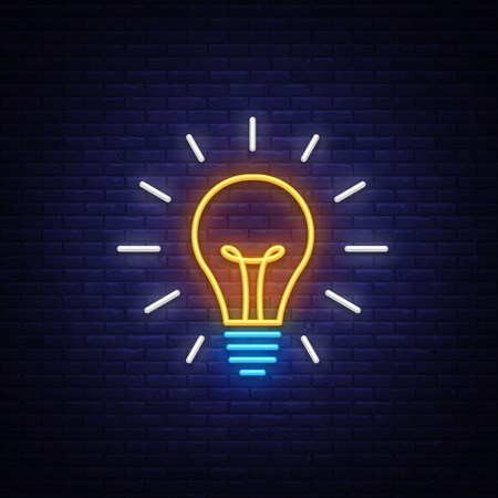 Light Bulb neon sign vector. Light Bulb Design template neon icon, light banner, neon signboard, light symbol. Vector illustration. Иллюстрация