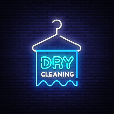 Dry Cleaning neon sign vector. Dry Cleaning Design template neon sign, light banner, neon signboard, nightly bright advertising, light inscription. Vector illustration Illustration