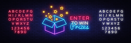 Enter to Win Prizes Neon Sign Vector. Gift neon sign, design template, modern trend design, night neon signboard, night bright advertising, light banner, light art. Vector. Editing text neon sign. Illustration