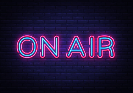 On Air neon sign vector. On Air Radio Design template neon sign, light banner, neon signboard, nightly bright advertising, light inscription. Vector illustration.