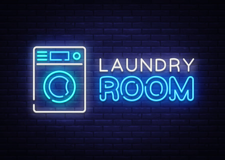 Laundry Room Neon Logo Vector. Dry Cleaning neon sign, design template, modern trend design, night neon signboard, night bright advertising, light banner, light art. Vector illustration