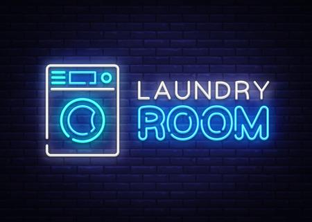Vector de logotipo de neón de sala de lavandería. Letrero de neón de limpieza en seco, plantilla de diseño, diseño de tendencia moderna, letrero de neón nocturno, publicidad luminosa nocturna, banner de luz, arte de luz. Ilustración vectorial Logos