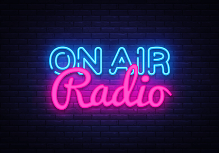 On Air Radio neon sign vector. On Air Radio Design template neon sign, light banner, neon signboard, nightly bright advertising, light inscription. Vector illustration.