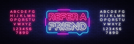 Refer a Friend Neon Text Vector. Refer a Friend neon sign, design template, modern trend design, night neon signboard, night bright advertising, light banner. Vector. Editing text neon sign. Illustration