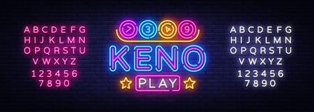 Keno Lottery neon sign vector. Lotto Design template neon sign, Casino, celebration light banner, neon signboard, nightly bright advertising, light inscription. Vector. Editing text neon sign 일러스트