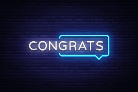 Congrats Neon Text Vector. Congrats neon sign, design template, modern trend design, night neon signboard, night bright advertising, light banner, light art. Vector illustration.