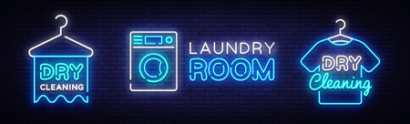 Dry Cleaning Neon Logo Collection Vector. Laundry Room neon sign, design template, modern trend design, night neon signboard, night bright advertising, light banner, light art. Vector illustration