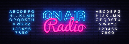On Air Radio neon sign vector. On Air Radio Design template neon sign, light banner, neon signboard, nightly bright advertising, light inscription. Vector illustration. Editing text neon sign.