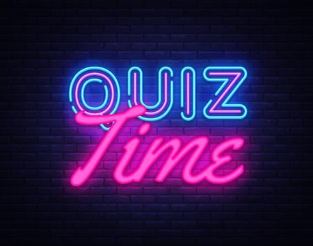 Quiz Time insegna al neon vettoriale. Quiz Pub Design modello insegna al neon, striscione luminoso, insegna al neon, pubblicità luminosa notturna, iscrizione luminosa. Illustrazione vettoriale. Vettoriali