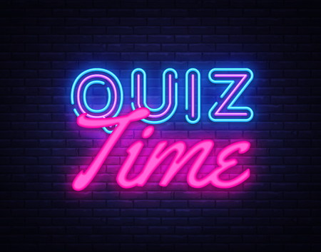 Quiz Time neon sign vector. Quiz Pub Design template neon sign, light banner, neon signboard, nightly bright advertising, light inscription. Vector illustration. Stok Fotoğraf - 110272407