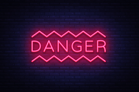 Danger Neon Text Vector. Danger neon sign, design template, modern trend design, night neon signboard, night bright advertising, light banner, light art. Vector illustration. Illusztráció