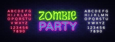 Zombie Party Text Vector. Halloween neon sign, design template, modern trend design, night neon signboard, night bright advertising, light banner, light art. Vector. Editing text neon sign