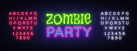 Zombie Party Text Vector. Halloween neon sign, design template, modern trend design, night neon signboard, night bright advertising, light banner, light art. Vector. Editing text neon sign