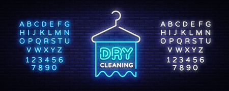 Dry Cleaning neon sign vector. Dry Cleaning Design template neon sign, light banner, neon signboard, nightly bright advertising, light inscription. Vector illustration. Editing text neon sign