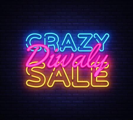 Diwali Crazy Sale neon text vector design template. Diwali Festival Offer Big Sale neon logo, light banner design element colorful modern design trend, night bright advertising, bright sign. Vector