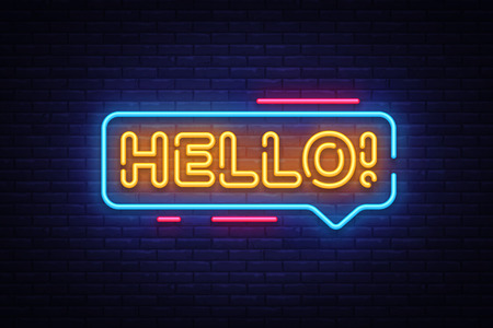 Hello Neon Text Vector. Hello neon sign, design template, modern trend design, night neon signboard, night bright advertising, light banner, light art. Vector illustration. Vectores