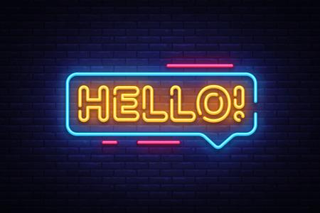 Witam wektor tekst neon. Witam neon znak, szablon projektu, nowoczesny trend design, noc neon szyld, noc jasna reklama, jasny baner, lekka sztuka. Ilustracja wektorowa. Ilustracje wektorowe