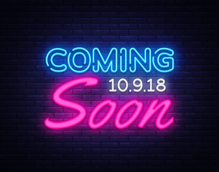 Coming Soon neon sign vector. Coming Soon Design template neon sign, light banner, neon signboard, nightly bright advertising, light inscription. Vector illustration