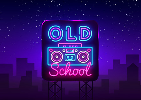 Old School neon sign vector. Retro Music Design template neon sign, Retro Style 80-90s, celebration light banner, tape recorder neon signboard, nightly bright advertising. Vector. Billboard. Иллюстрация