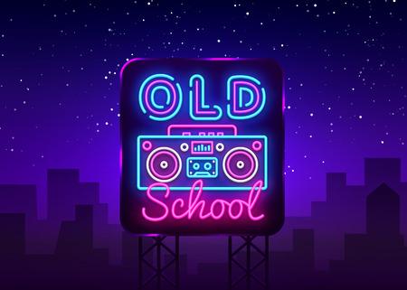 Vettore dell'insegna al neon della vecchia scuola. Retro Music Design modello insegna al neon, Retro Style 80-90s, banner luminoso di celebrazione, insegna al neon del registratore a nastro, pubblicità luminosa notturna. Vettore. Tabellone.
