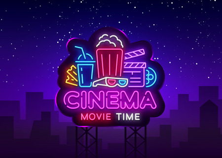 Movie Time Neon Logo Vector. Cinema Night neon sign, design template, modern trend design, night neon signboard, night light advertising, light banner, light art. Vector illustration. Billboard.