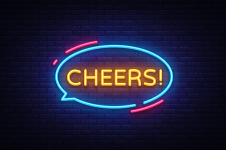 Cheers Neon Text Vector. Cheers neon sign, design template, modern trend design, night neon signboard, night bright advertising, light banner, light art. Vector illustration.