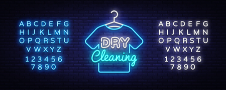 Dry Cleaning neon sign vector. Dry Cleaning Design template neon sign, light banner, neon signboard, nightly bright advertising, light inscription. Vector illustration. Editing text neon sign.