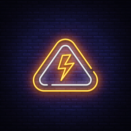 Lightning bolt neon sign vector design template. High-voltage neon symbol, light banner design element colorful modern design trend, night bright advertising, bright sign. Vector illustration.