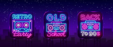 Torna alla collezione di poster al neon degli anni '90, carta o invito, modello di progettazione. Retro cassette per registratori a nastro insegna al neon, simbolo del grammofono, insegna luminosa. Ritorno agli anni '90. Illustrazione vettoriale. Tabellone.