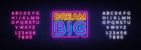 Dream Big Neon Text Vector. Dream Big neon sign, design template, modern trend design, night neon signboard, night bright advertising, light banner, light art. Vector. Editing text neon sign. Zdjęcie Seryjne - 108116491