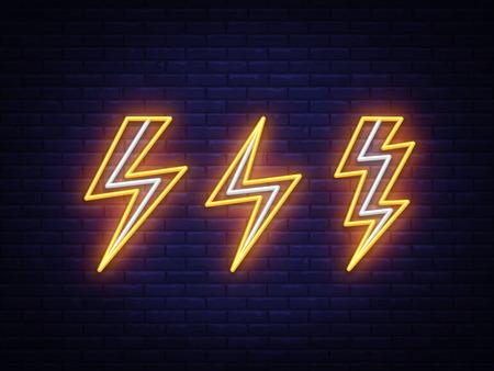 Blitz-Set Leuchtreklamen. Vektorentwurfsschablone. Hochspannungs-Neonsymbol, bunter moderner Designtrend des Lichtbanner-Gestaltungselements, nächtliche helle Werbung, helles Zeichen. Vektorillustration